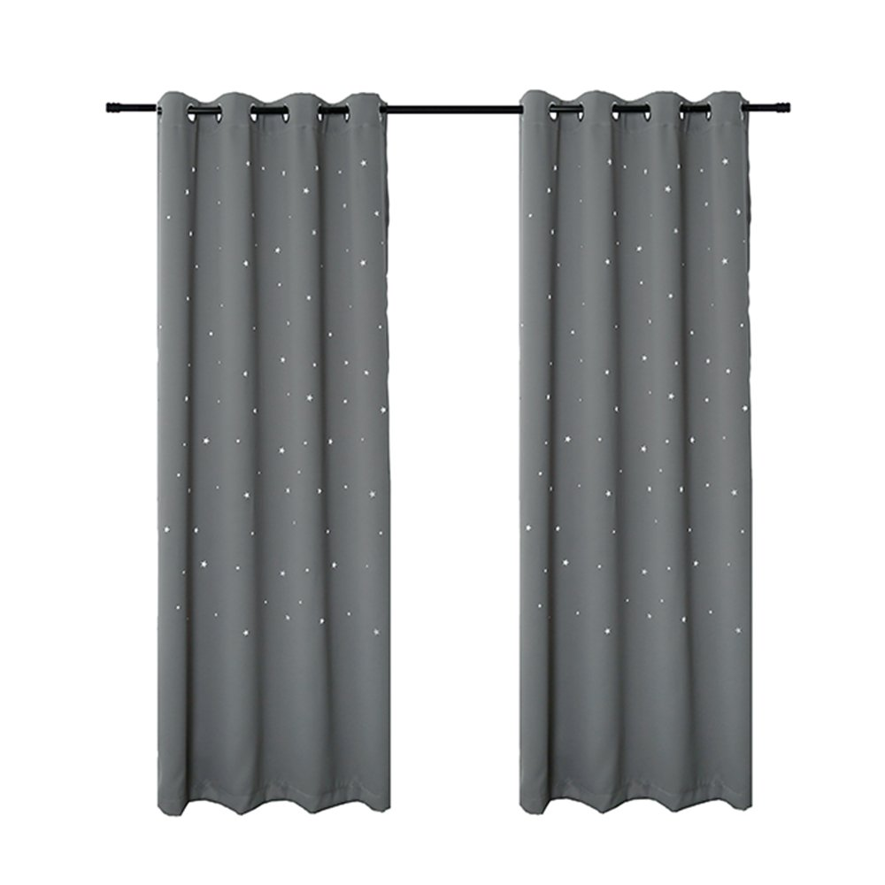 Anjee Star Curtains for Kids Room by (2 Panels), Blackout Curtains with Punched Out Twinkle Stars Perfect for Nursery Window Treatments, 52 Inches Wide by 63 Inches Long, Space Grey