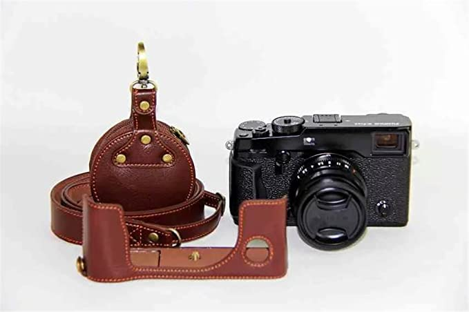 Bottom Opening Version Protective Genuine Real Leather Half Camera Case Bag Cover with Tripod Design for FUJIFILM Fuji X Series X T10 Brown