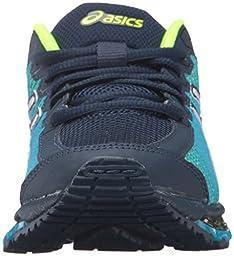 ASICS GEL-Quantum 360 CM GS Running Shoe (Little Kid/Big Kid), Dark Navy/White/Safety Yellow, 7 M US Big Kid