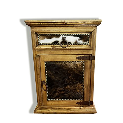 Rustic Western Nightstand End Table with Cowhide Free 3 Day Shipping Honey Wax Finish Solid Wood (Honey Finish, Right Hinged)