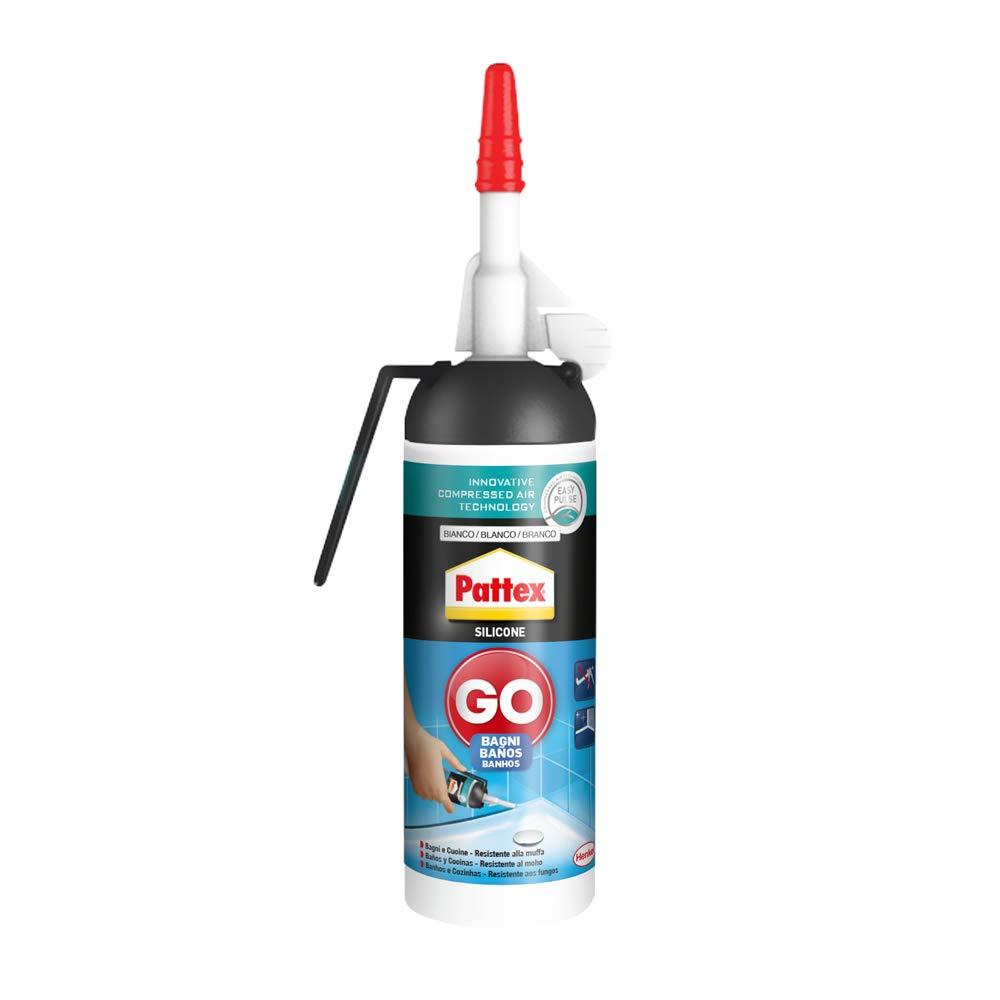 Pattex 2246860 Silicona Go Baños, silicona blanca para una aplicación fácil y precisa, silicona antimoho para baño y cocina, sellador de juntas impermeable, 1 x 100 ml