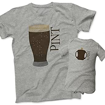 Pint and Half Pint Beer Glass and Sippy Cup Gift Set - Grey (Mens Small & 12M(Bodysuit))
