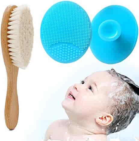 2 Pack Silicone Baby Bath Brush + Wool Sponge Brush - Washcloths Cradle Cap Fit for Wash,Bath and Shampoo