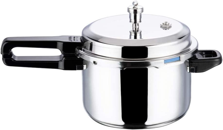 Vinod 18/8 Steel Platinum Triply Induction Pressure Cooker, 7 Liter, Silver