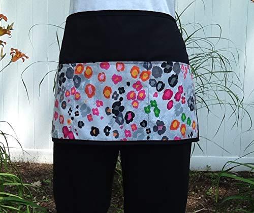 Waitress or Server, Cute Cheetah animal design print 3 pockets, black half waist apron. Check out 300 more @ (Handmade Janets Aprons). For Restaurants, Cooks, kitchen, bartenders, gardeners.