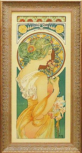 「桜草」アルフォンスミュシャ(世界の名画アルフォンスミュシャ特殊ゲル加工アート[絵画通販]) B00H7DL7QE