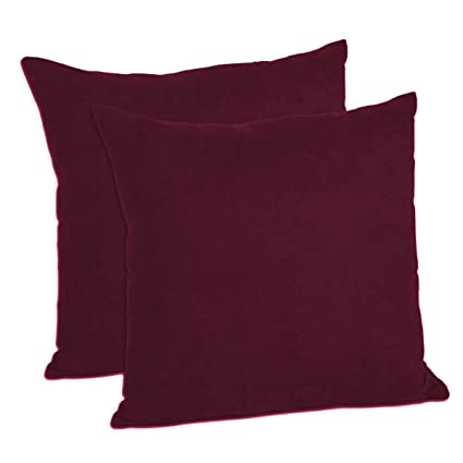 MoonRest Pack of 2- Suede Square Decorative Throw Pillow Covers Sofa sham Solid Colors Cushion Pillowcases (20 x 20 Burgundy)