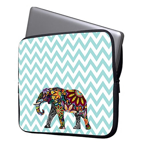 """Elonbo 13-Inch Fashion Ripple Exotic Elephant Waterproof Neoprene Laptop Soft Sleeve Case Bag Pouch Cover for 13.3"""" Macbook Pro / Air"""