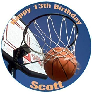 Personalised Cake Topper Edible Sugar Icing Decoration PLEASE SEND US A NAME AND AGE VIA GIFT MESSAGE OR CONTACT SELLER OPTION A4 Basketball Court 10 x 7.5 Rectangle