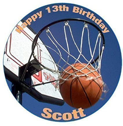 Basketball PERSONALISED 75 ROUND Icing Birthday Cake Topper