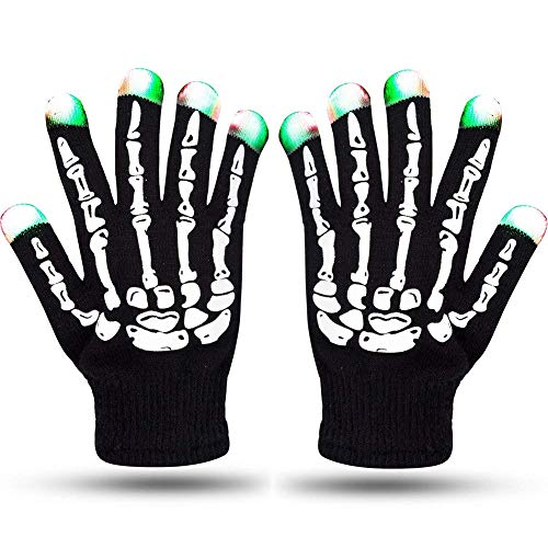 Ocamo LED Skeleton Gloves Knitting Gloves 6 Modes LED Strobe Full Fingers Flashing Fingertips Halloween Costume Christmas Party Gift