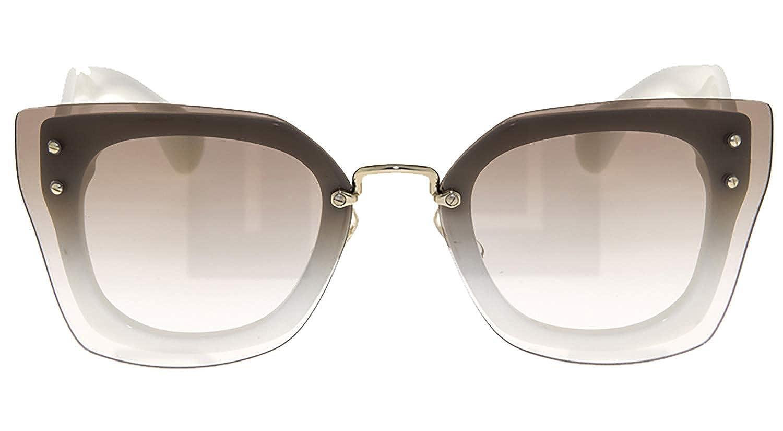 f9752d8eb45b Amazon.com  MIU MIU REVEAL Shield Square Sunglasses MU04RS White Brown 04R   Clothing