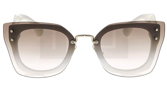 e188046c9b2a Amazon.com  MIU MIU REVEAL Shield Square Sunglasses MU04RS White ...