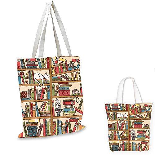 Cat small clear shopping bag Nerd Book Lover Kitty Sleeping Over Bookshelf in Library Academics Feline Cosy Boho Design canvas lunch bag Multi. 14