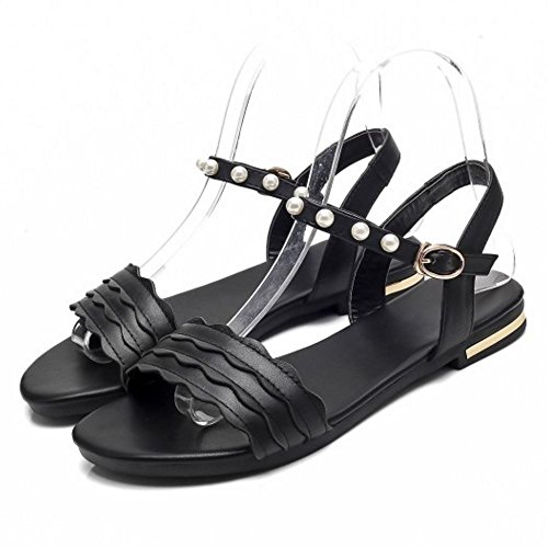 TAOFFEN Women Casual Flats Sandals Open Back Black-sm x00WwE