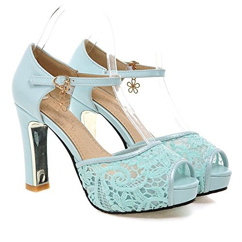 Blue Sandal Pendant (Summerwhisper Women's Elegant Peep Toe Platform Sandals Chunky High Heel Shoes Lace Sandals Blue 6 B(M) US)