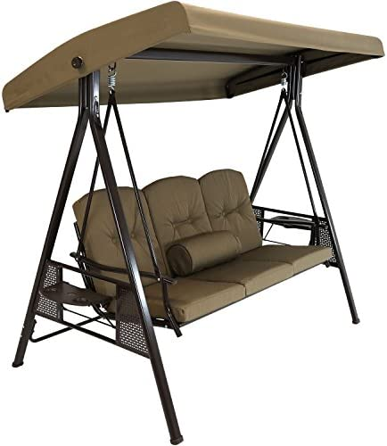 Sunnydaze 3-Person Outdoor Patio Swing Bench with Adjustable Tilt Canopy, Durable Steel Metal Frame, Cushions and Pillow Included, Beige