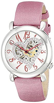"Stuhrling Original Women's 109SW.1215A2 ""Amour"" Swarovski Crystal-Accented Stainless Steel Watch with Pink Satin and Leather Band"
