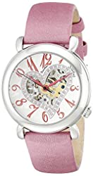 """Stuhrling Original Women's 109SW.1215A2 """"Amour"""" Swarovski Crystal-Accented Stainless Steel Watch with Pink Satin and Leather Band"""