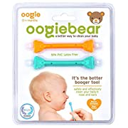 oogiebear - The Safe Baby Nasal Booger and Ear Cleaner; Baby Shower Gift and Registry Essential Snot Removal Tool - Two Pack - Orange and Seafoam