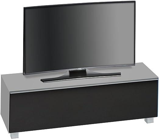 TV de mueble bajo TV de tarjeta con solapa y 5 pies. Cristal Cuerpo en mamorgrau Mate y acústica plástico en negro. Dimensiones: B/H/T aprox. 140,2/43,3/42 cm: Amazon.es: Juguetes y juegos