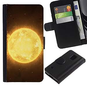 LASTONE PHONE CASE / Lujo Billetera de Cuero Caso del tirón Titular de la tarjeta Flip Carcasa Funda para Samsung Galaxy S5 V SM-G900 / The Sun Plaanet In Space