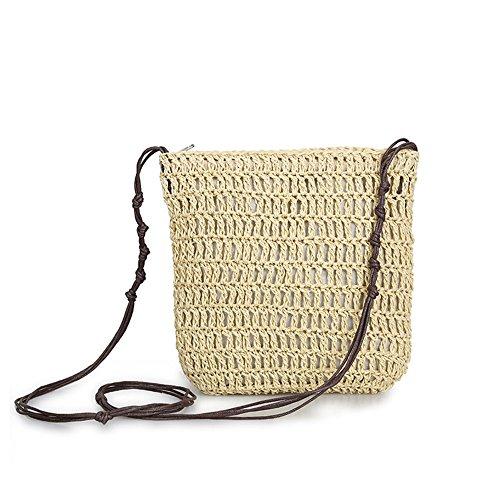 Meaeo Summer Straw Satchel Beach Bag Bolso Casual Para Mujer Bolso DeHombro Paravacacionesbolso Casual Lady'S Bag, Beige Beige