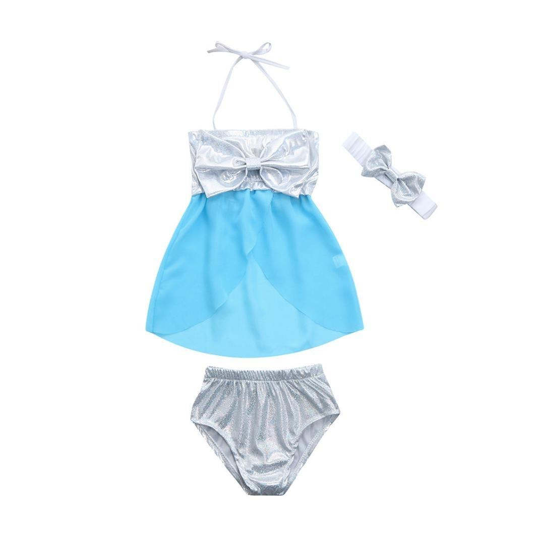Lanhui Infant Baby Girl Swimwear Bowknot Straps Swimsuit Bathing Bikini Set