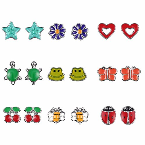 Zen Styles Girl's Stud Earrings Set – Butterflies, Frogs, Hearts, Stars, Ladybugs, Flowers, Cherries, Bees, Turtles, 9 Jewelry Pairs, Hypoallergenic, Gift-Boxed