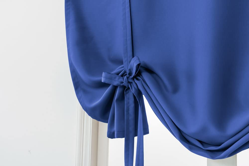 Royal Blue Blackout Curtain Tie Up Shades Thermal