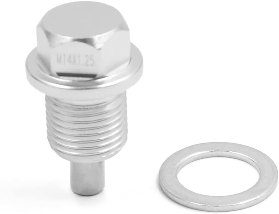 uxcell M14 x 1.25 Silver Tone Magnetic Engine Oil Pan Drain Bolt Screw w Billet for Car