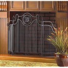 Fireplace Screens Black Rustic Cast Iron Decorative Spark Guard Three Panel Antique Modern Mesh Screen