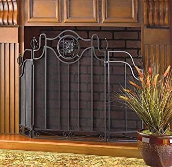 Buy Fireplace Screens Black Rustic Cast Iron Decorative Spark Guard Three Panel Antique Modern Mesh Screen: Fireplace Screens - Amazon.com ? FREE DELIVERY possible on eligible purchases