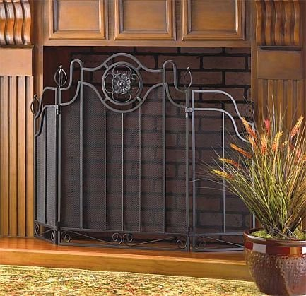 Fireplace Screens Black Rustic Cast Iron Decorative Spark Guard Three Panel Antique Modern Mesh Screen (Iron Cover Fireplace Cast)