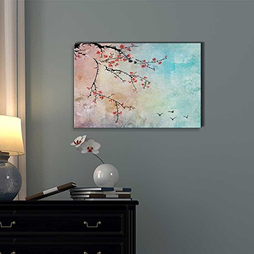 Beautiful Watercolor Illustration of Cherry Blossoms and Birds in The Sky