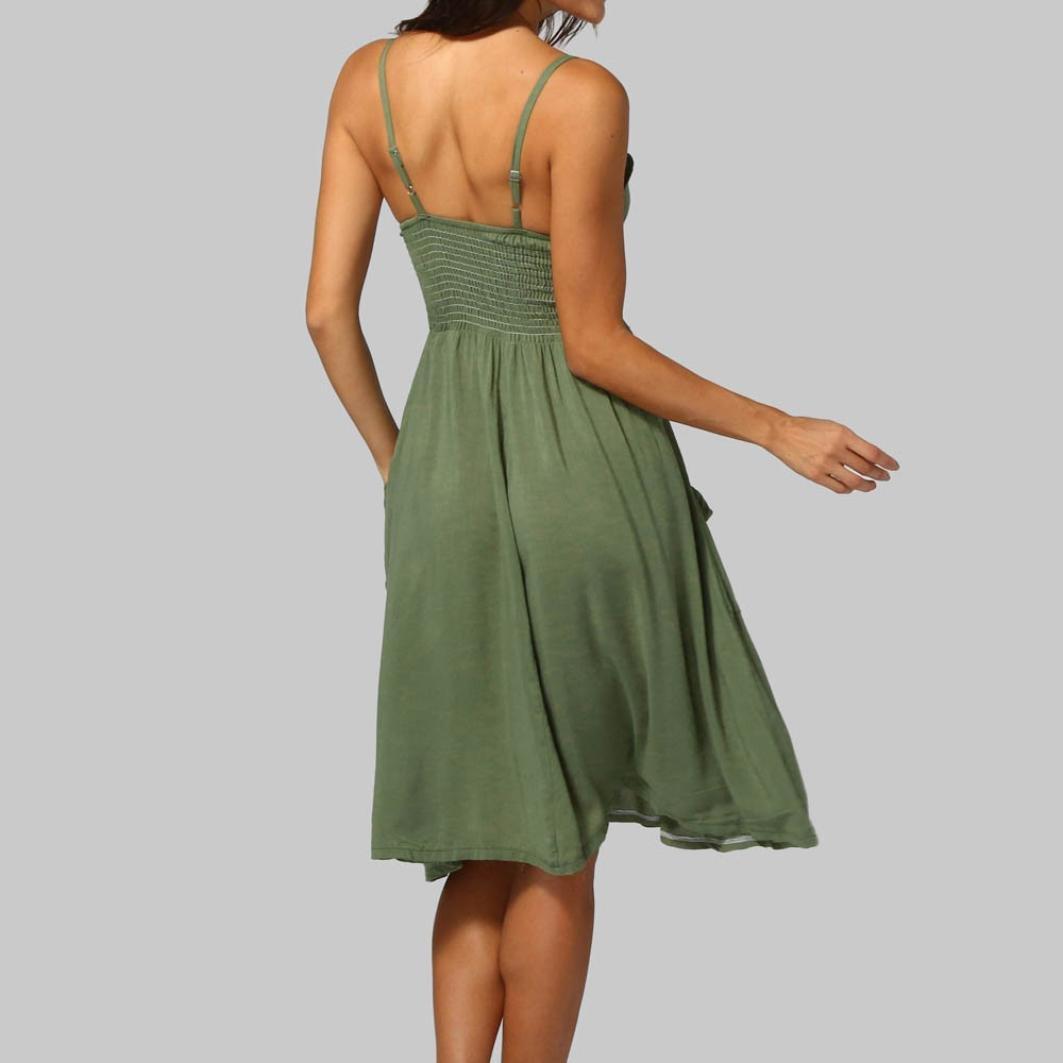 feiXIANG Vestido para Mujeres Atractivas abotona el Vestido sin Mangas del Hombro Sólido de la Princesa (Ejercito Verde, S): Amazon.es: Hogar