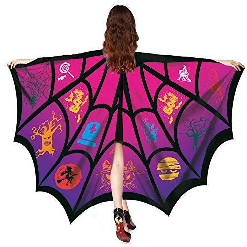 YOcheerful Women Men Halloween Scary Bat Shawl Costume Accessory (Hot Pink,Free Size)