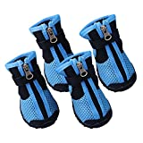 PanDaDa Pet Shoes Pet Mesh Boots Medium Large Dog Summer Anti Slip Breathable Mesh Tied Zipper Shoe Paw Protectors with Rugged Anti-Slip Sole