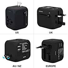 Universal Travel Adapter, GoldFox International Travel Charger Power Adapter with Dual USB Charger, All-in-One Worldwide Plug Adapter Charger for UK US AU Europe & Asia, Built-in Safety Fuse (Black)