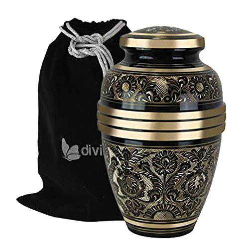 Large Golden Aura Cremation Urn – Beautifully Handcrafted Adult Funeral Urn – Solid Brass Living Garden Urn – Affordable Urn for Human Ashes with Free Velvet Bag
