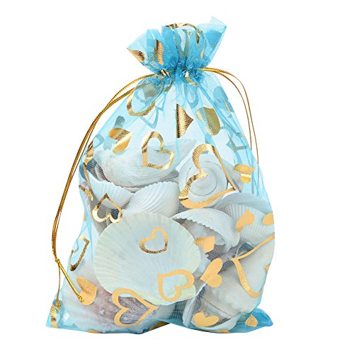 Pandahall 100 PCS 5x7 Inches Heart Printed LightSkyBlue Organza Bags Jewelry Pouch Bags Organza Velvet Drawstring Pouches Wedding Favors Candy Gift Bags