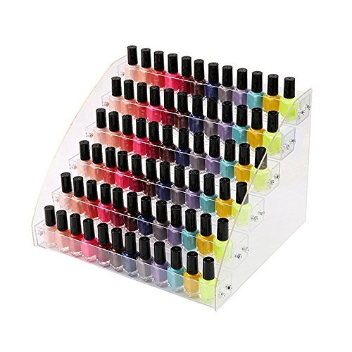 6 Tiers Acrylic Display Rack Nail Polish Collection Plastic Multi-Tray for Essential Oil Organizer Paints Makeup Vanity Table Desktop Store Shelf Storage Case Stand Fair Show Brochure Holder Shelf