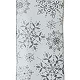 RAZ Imports Silver Sparkly Snowflake Christmas WinterRibbon - 10 yards by 4 inches