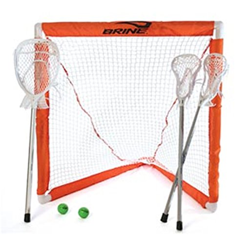 Brine Lacrosse Mini Lacrosse Set (Includes 2 Mini Sticks, 1 Mini Goalie Stick, Goal and Net) ()