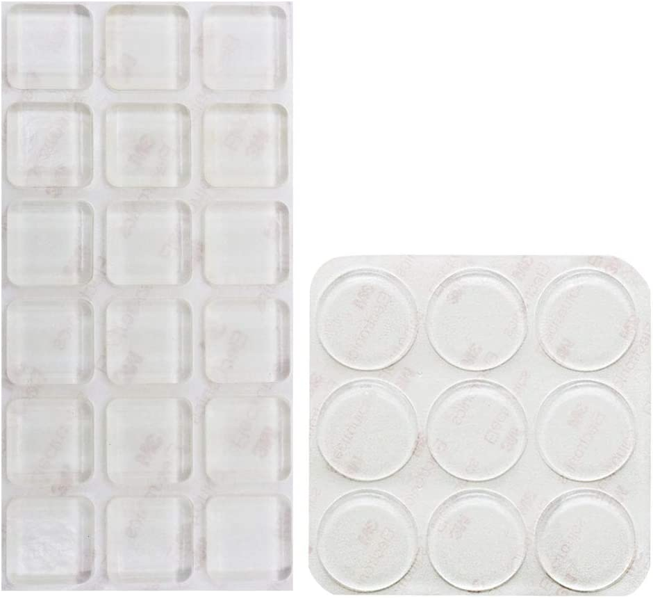 Shintop 27 Pieces Furniture Bumpers, Clear Adhesive Glass Top Bumpers Anti-Scratch and Noise Dampening for Glass, Doors, Cabinets Drawers and Furniture Protection (Square, Circle)