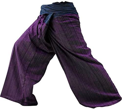 LannaPremium Best Thai Fisherman Pants Yoga Trousers Free Size Cotton Blue and Maroon 2 Tone, Freesize, Mixcolor