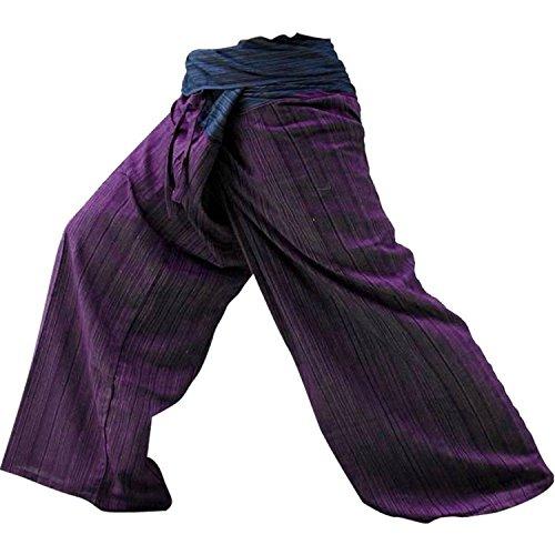 (LannaPremium Best Thai Fisherman Pants Yoga Trousers Free Size Cotton Blue and Maroon 2 Tone, Freesize, Mixcolor)