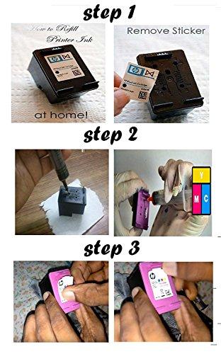 Flowjet Photo Quality Refill Ink Bottle Kit with 4 Syringe and Needles For Refilling HP 21 22 802 803 680 678 46 704 703 900 Inkjet Printer Cartridge