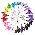 HipGirl Boutique Girls Pinwheel Hair Bow Snap Clips/Barrettes, Multi Color, 1.5 Inch