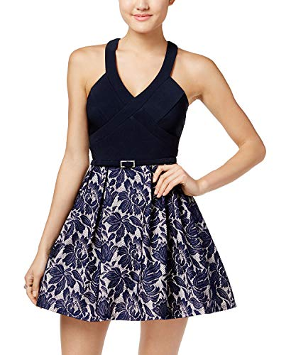 Crystal Doll Juniors' Belted Lace Fit & Flare Dress (Navy Nude, 1) (Crystal Doll Juniors Cutout A Line Dress)